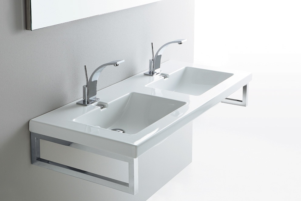 Lavabo bagno doppia vasca boiserie in ceramica per bagno - Lavandino doppia vasca cucina ...
