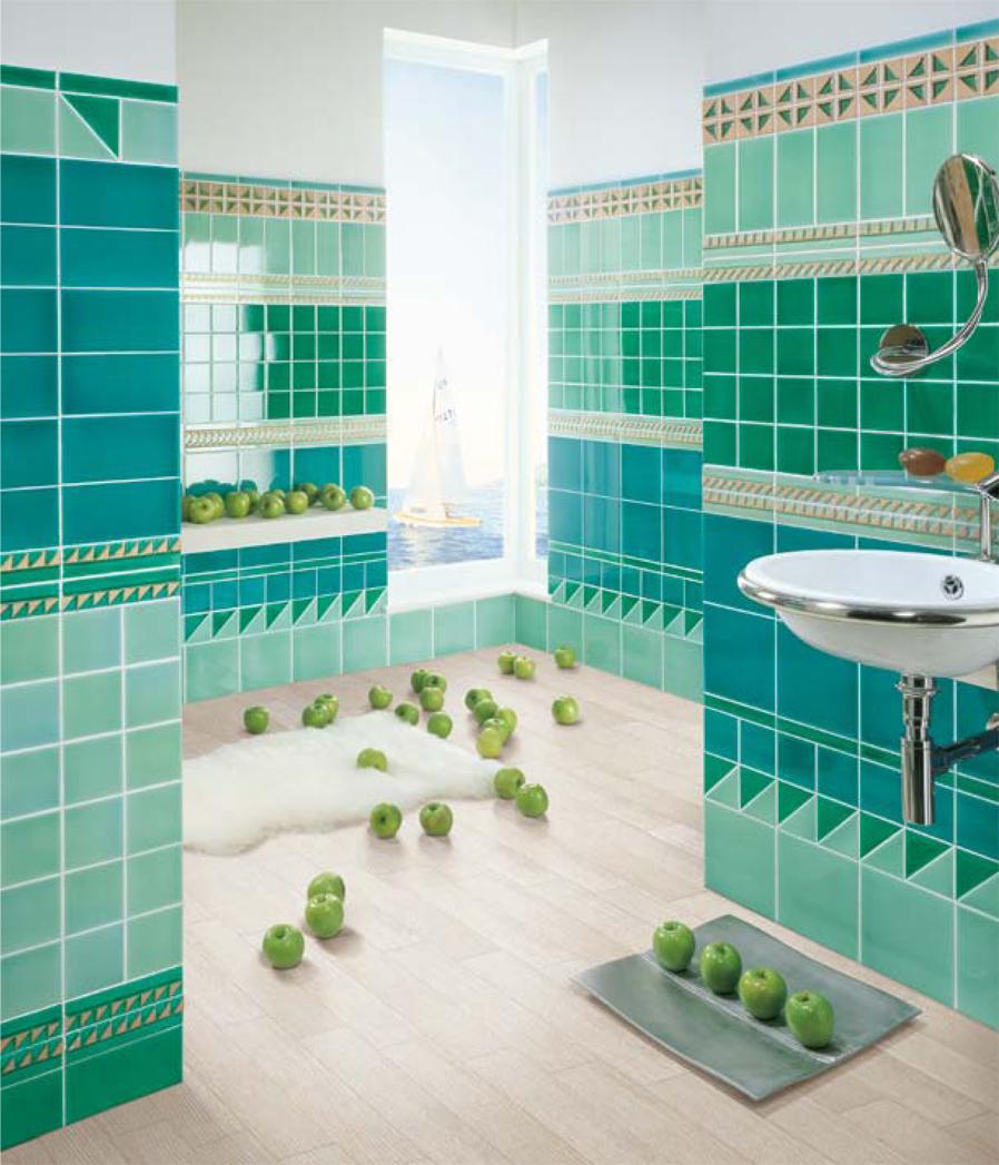 Bagno moderno verde acqua - Bagno mosaico verde ...