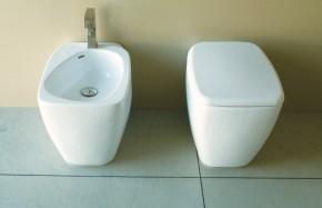 Vaso e Bidet serie Fluid a terra